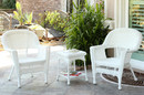 Jeco W00206_2-CES White Wicker Chair And End Table Set Without Cushion