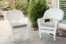 Jeco W00206_4-C-FS006-CS White Wicker Chair With Tan Cushion - Set Of 4