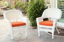 Jeco W00206_4-C-FS016-CS White Wicker Chair With Orange Cushion - Set Of 4