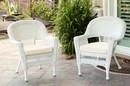 Jeco W00206-C_2-FS001-CS White Wicker Chair With Ivory Cushion - Set Of 2