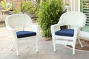 Jeco W00206-C_2-FS011-CS White Wicker Chair With Midnight Blue Cushion - Set Of 2