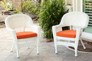 Jeco W00206-C_2-FS016-CS White Wicker Chair With Orange Cushion - Set Of 2