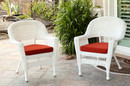 Jeco W00206-C_2-FS018-CS White Wicker Chair With Brick Red Cushion - Set Of 2