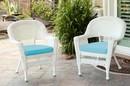 Jeco W00206-C_2-FS027-CS White Wicker Chair With Sky Blue Cushion - Set Of 2