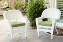 Jeco W00206-C_2-FS029-CS White Wicker Chair With Sage Green Cushion - Set Of 2