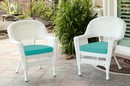 Jeco W00206-C_2-FS032-CS White Wicker Chair With Turquoise Cushion - Set Of 2