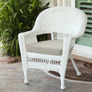 Jeco W00206-C-FS006 White Wicker Chair with Tan Cushion