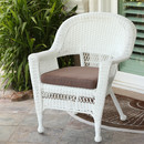 Jeco W00206-C-FS007 White Wicker Chair with Brown Cushion
