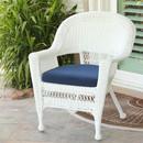 Jeco W00206-C-FS011 White Wicker Chair with Blue Cushion