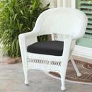 Jeco W00206-C-FS017 White Wicker Chair with Black Cushion