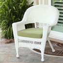 Jeco W00206-C-FS029 White Wicker Chair with Green Cushion