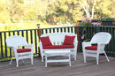 Jeco W00206-G-FS030 4Pc White Wicker Conversation Set - Red Cushions