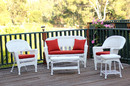 Jeco W00206-G-OT-FS018 5pc White Wicker Conversation Set - Red Orange Cushions