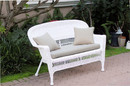 Jeco W00206-L-FS006-CL White Wicker Patio Love Seat With Tan Cushion And Pillows
