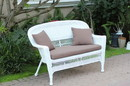 Jeco W00206-L-FS007-CL White Wicker Patio Love Seat With Brown Cushion And Pillows