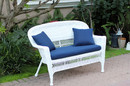 Jeco W00206-L-FS011-CL White Wicker Patio Love Seat With Midnight Blue Cushion And Pillows