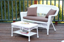 Jeco W00206-LCS007 White Wicker Patio Love Seat And Coffee Table Set With Brown Cushion