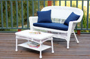 Jeco W00206-LCS011 White Wicker Patio Love Seat And Coffee Table Set With Blue Cushion