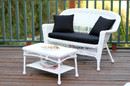 Jeco W00206-LCS017 White Wicker Patio Love Seat And Coffee Table Set With Black Cushion