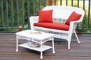 Jeco W00206-LCS018 White Wicker Patio Love Seat And Coffee Table Set With Red Orange Cushion