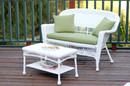 Jeco W00206-LCS029 White Wicker Patio Love Seat And Coffee Table Set With Green Cushion