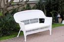 Jeco W00206-L White Wicker Patio Love Seat