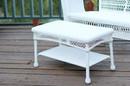 Jeco W00206-T White Wicker Patio Furniture Coffee Table