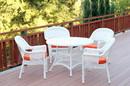 Jeco W00206D-B-G-FS016 5pc White Wicker Dining Set - Orange Cushions