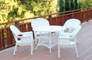 Jeco W00206D-B-G 5pc White Wicker Dining Set