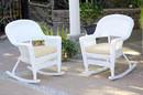 Jeco W00206R-B_2-FS001 White Rocker Wicker Chair With Ivory Cushion- Set Of 2