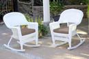 Jeco W00206R-B_2-FS007 White Rocker Wicker Chair With Brown Cushion- Set Of 2