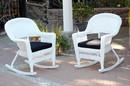 Jeco W00206R-B_2-FS017 White Rocker Wicker Chair With Black Cushion- Set Of 2