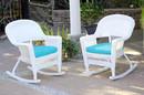 Jeco W00206R-B_2-FS027 White Rocker Wicker Chair With Sky Blue Cushion- Set Of 2