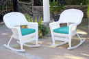 Jeco W00206R-B_2-FS032 White Rocker Wicker Chair With Turquoise Cushion- Set Of 2