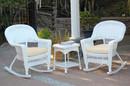 Jeco W00206R-B_2-RCES001 3Pc White Rocker Wicker Chair Set With Ivory Cushion