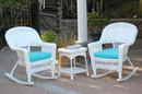 Jeco W00206R-B_2-RCES027 3Pc White Rocker Wicker Chair Set With Sky Blue Cushion