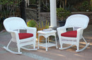 Jeco W00206R-B_2-RCES030 3Pc White Rocker Wicker Chair Set With Red Cushion
