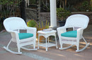 Jeco W00206R-B_2-RCES032 3Pc White Rocker Wicker Chair Set With Turquoise Cushion