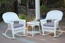 Jeco W00206R-B_2-RCES033 3Pc White Rocker Wicker Chair Set With Steel Blue Cushion