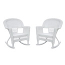 Jeco W00206R-B_2 White Rocker Wicker Chair -  Set of 2