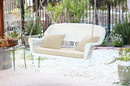 Jeco W00206S-B-FS001 White Resin Wicker Porch Swing With Ivory Cushion