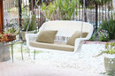 Jeco W00206S-B-FS006 White Wicker Porch Swing with Tan Cushion