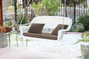 Jeco W00206S-B-FS007 White Wicker Porch Swing with Brown Cushion