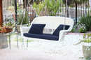 Jeco W00206S-B-FS011 White Wicker Porch Swing with Blue Cushion