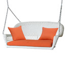 Jeco W00206S-B-FS016 White Wicker Porch Swing with Orange Cushion