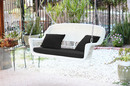 Jeco W00206S-B-FS017 White Wicker Porch Swing with Black Cushion