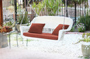 Jeco W00206S-B-FS018 White Wicker Porch Swing with Red Cushion