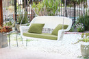 Jeco W00206S-B-FS029 White Wicker Porch Swing with Green Cushion