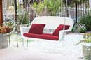 Jeco W00206S-B-FS030 White Resin Wicker Porch Swing With Red Cushion