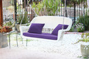 Jeco W00206S-B-FS031 White Resin Wicker Porch Swing With Purple Cushion